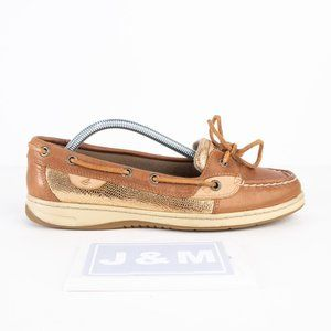 Sperry Angelfish tan / gold top siders size 8